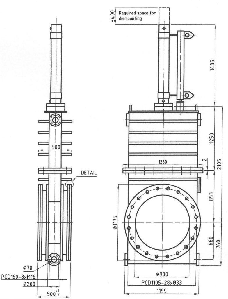 900mm gate valve