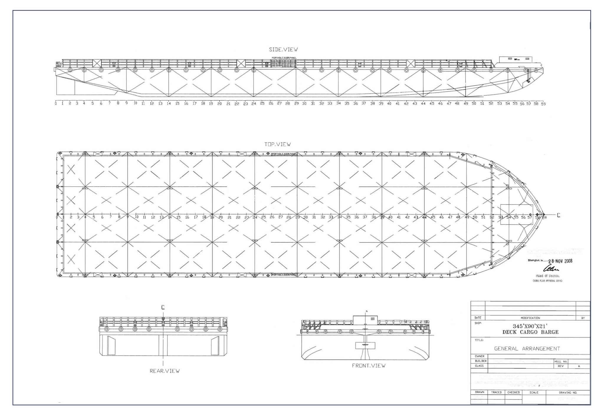 345 feet Deck Cargo Barge