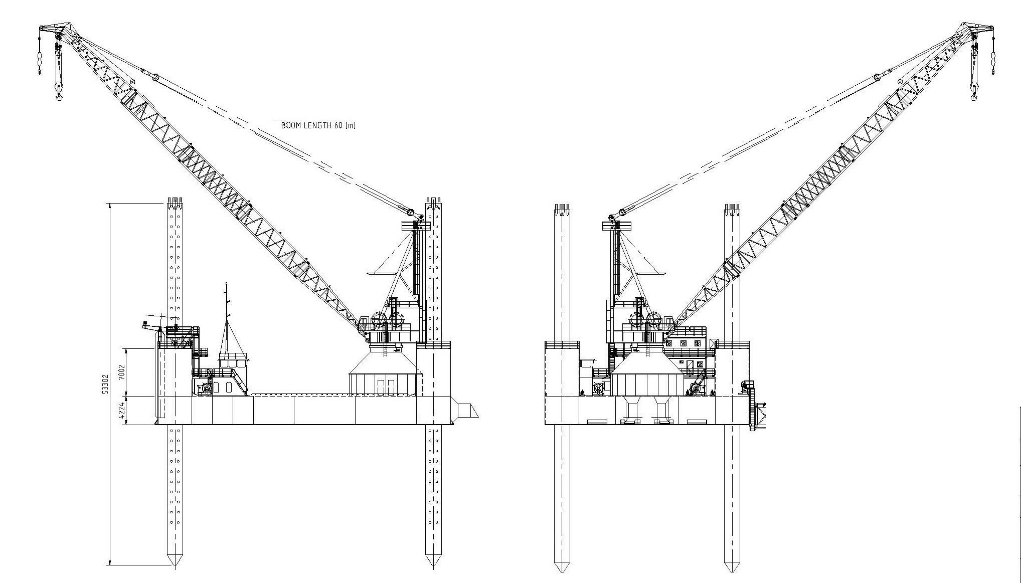 Jack-up Barge, 250 ton pedestal crane - Van Loon Maritime